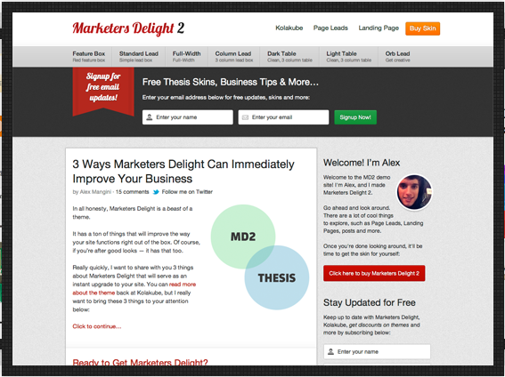 thesis 2.0 skins for business Our thesis skins are working with thesis theme 219 and wordpress 391 it surely needs thesis framework.